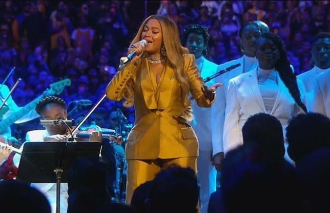 Beyonce Performs Tribute At Kobe Bryant Memorial Service