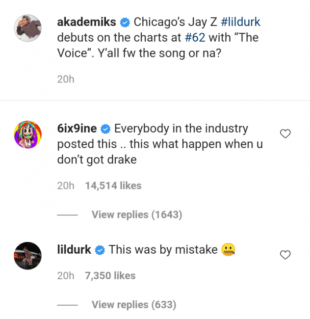"Tekashi 6ix9ine Mocks Lil Durk's Sales: ""This What Happen When U Don't Got Drake"""