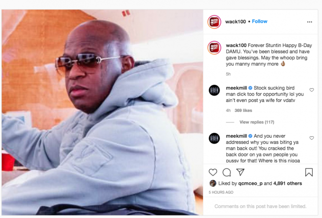 Wack 100 & Meek Mill Keep Taunting Each Other On The Gram Over 6ix9ine Altercation